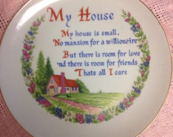 Cottage Wall Plate with Poem
