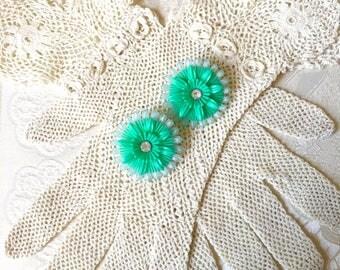 Vintage Seafoam Green Blue Plastic Daisy Flower Power Clip On Earrings with Clear Rhinestone Centers Bride Wedding Summer Beach Resale