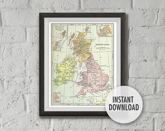 Instant Download of United Kingdom Map Vintage Illustration, Printable - British Isles UK, 8x10, Wall Decor, Wall Art Print, Drawn in 1898