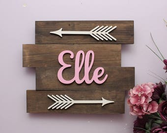 Nursery Name Sign, Boho Nursery Arrow Wall Decor, Pallet Signs, Large Wood Letters, Above the Crib Nursery Decor, Rustic Nursery Decor