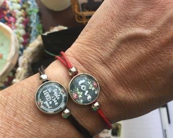 Charm leather cord bracelet