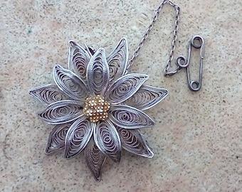 Vintage Continental Silver Filigree Brooch in Form of Flower