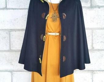 Black Wool Cape, Cloak, Poncho, Coat with Hood and Toggles.