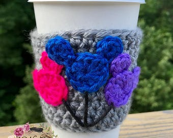 "The ""Mickey Balloon"" Cozie / Cozies / Coffee Cozie / Tea Cozie / Tumbler Cozie / Crochet Cozie"