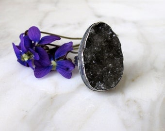 Grey Druzy Ring in Oxidized Sterling Silver Jewelry One of a Kind Handmade