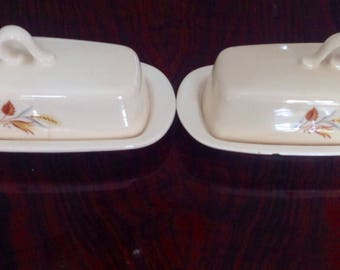 Taylor, Smith Taylor Autumn Pair of Covered Butter Dishes