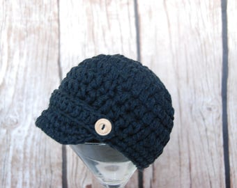 Ready to ship newborn baby boy newsboy hat, hat for boys, black cotton beanie, newsboy hat with wooden buttons,  photo baby hat