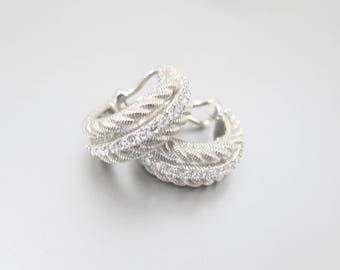 Sterling CZ Hoop Earrings. Rope Twist Cubic Zirconia Chunky Hoop Earrings. Omega Back.