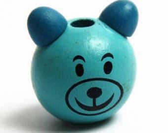 Pooh 29x25mm blue wooden bead