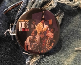 new kids on the block button, NKOTB pin, Donnie, Joey, Jordan, Jonathan, Danny, 1.5 inch pin back button, 37 mm pinback button