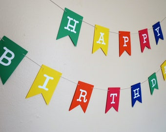 Happy Birthday Banner - Primary Colors - 1st Birthday,  Personalized, Photo Prop