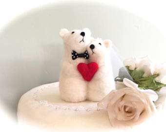 Polar bear figurine polar bear wedding cake topper polar bear red heart white bear figure wool needle felted arctic bear arctic animals