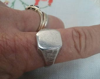 Vintage Signet Ring Sterling Silver Mens Signet Ring Unisex Ladies Signet Ring
