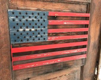 Rustic Metal American Flag, Rustic Flag Sign, Rustic Wall Decor, Farmhouse decor, Garden, Porch Flag, Home Wall decor, USA Metal flag