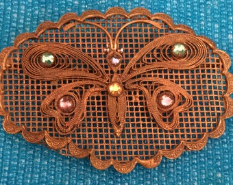 1930s Czech Art Nouveau Bohemian Oval Brooch with Filigree Butterfly Design with Claw Set Crystals on Mesh Base
