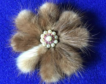 1950s Mink, Rhinestone and Faux Pearl Dramatic Floral Brooch