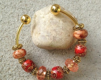 ON SALE Wood & Glass Cuff Bracelet, Wooden Beads, Earth Tones, Boho Chic, Bohemian Jewelry, Chunky Bracelet, Jewelry Gift, Adjustable Cuff