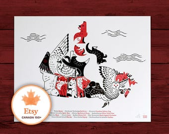 Map of Canada - Letterpress 8x10 Limited Edition of 150 - Canada 150 - Canada Day