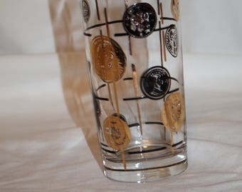 E4 Libbey Gold and Black Coin Tumbler Highball Glass
