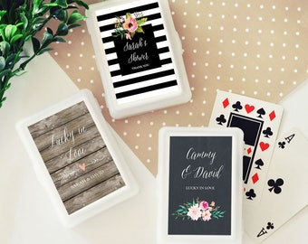 Personalized Floral Garden Playing Cards Wedding Rustic Chic Country Woodgrain Casino Royale Ace of Hearts Bridal Shower Wedding Favors