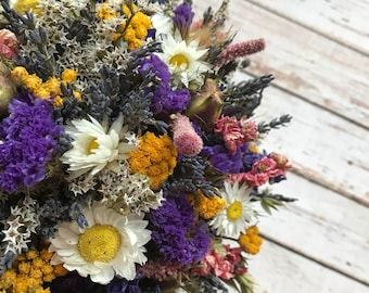 Summer Meadow Bridal Bouquet.  Dried Wedding Flowers for Bride, includes Daisies, Pinks and Sea Lavender. Lace, Twine, Hessian