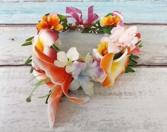 """Tropical Hair Flower Garland Tiki """"Paradise Sunset"""" Faux Flowers Floral Frangipani Hibiscus Lily Festival Rockabilly Pinup Crown Wreath"""