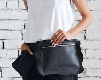 ON SALE Genuine Leather Black Clutch/Extravagant Mini Bag/Black Leather Tote Bag/Black Clutch Bag/Casual Handbag/Zipper Leather Party Bag/Mi