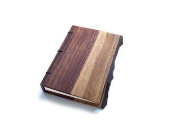 Walnut Wooden Notebook, Wooden Wedding Guestbook, Wood Journal, Engraved Notebook, Wooden Sketchbook, Custom Journal, Travel Notebook- 4x6