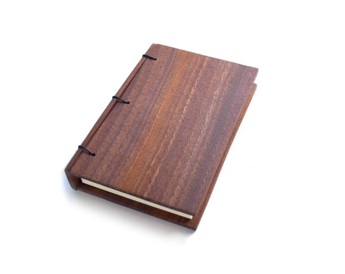 Featured listing image: Walnut Wooden Notebook, Wooden Wedding Guestbook, Wood Journal, Engraved Notebook, Wooden Sketchbook, Custom Journal, Travel Notebook- Mini