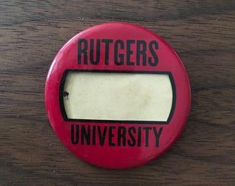 Rutgers  University Vintage Button