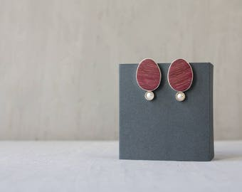 Sterling silver and Amaranth wood earrings / Pearl earrings / Natural wood earrings / Drop earrings / Modern jewelry / Gift for women