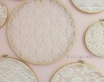 Lace Wedding Hoops Set, Wedding Decor, Boho Wedding, Nursery Decor, Baby Girl Room, Hanging Lace Hoops, Embroidery Hoops for Wedding