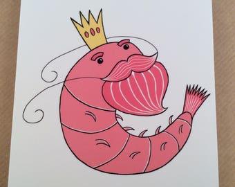 King Prawn postcard print