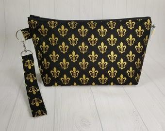 Gold Fleur de Lis Knitting Project Bag - Zippered Wedge Bag, Zipper Knitting Bag, Cosmetic Bag, Sock Knitting Bag WS0071