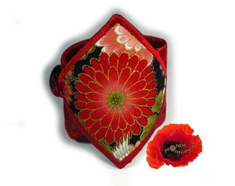 Red floral Japanese fabric and leather Cuff Bracelet