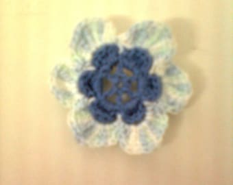 set of 10 crochet flowers handmade crochet blue and multicolored cotton