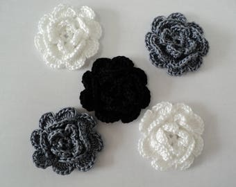 10 flowers in shades of grey, CROCHET for EMBELISSEMENT ref: z37
