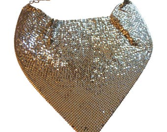 Sparkling Silver Tone Mesh Scarf Necklace By Whiting And Davis Vintage 1970