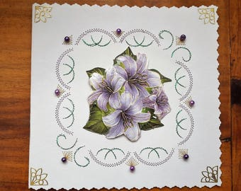 Purple flowers - hand made 3D card