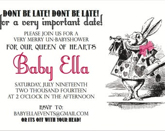 Vintage Alice & Wonderland Baby Shower Invitation _ Digital file only