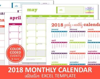 Deluxe Event Calendar - 2018 | Printable Excel Calendar Template | Monthly Calendar | Instant Digital Download