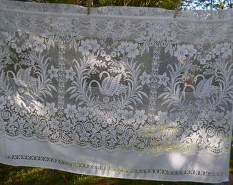"Pretty Vintage French White Net Curtain Elegant Swans on a Lake  62"" x 40"" long  159 x 102"