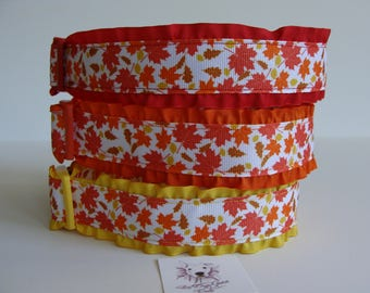 READY TO SHIP! Small size Red Falling Leaves Ruffle Dog Collar