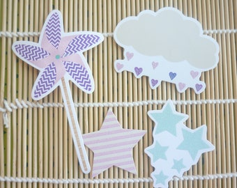 Cut scrapbooking cloud, stars and mill, sold in sets of 4.