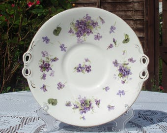 Victorian China Violets Cake Plate
