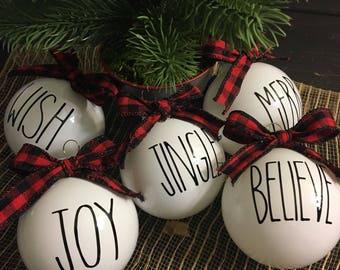Rae Dunn inspired christmas ornaments. These adorable ornaments are made of glass with vinyl as writing.