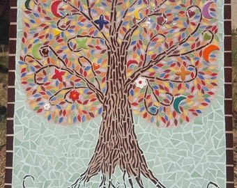 Tree of life mosaic-size medium 38 x 50 home with custom name plate