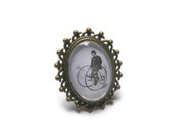 Retro bike ring antique vintage glass cabochon Adjustable ring