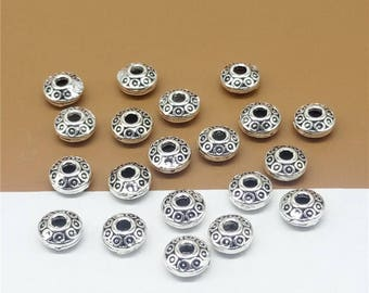 15 Sterling Silver Saucer Spacer Beads, 925 Silver Saucer Spacer Beads, Beads For Necklace, Bracelet Spacer Beads 6mm - LA518