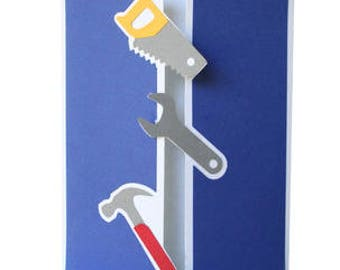 1 Tools Folded Card , Hammer , Saw , Wrench , Men , Women , Carpenter , Craftsman , Handyman , All Occasions